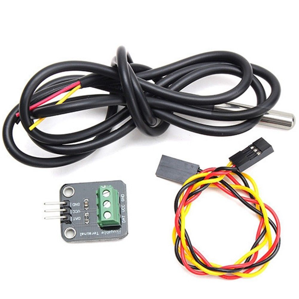 Ds18b20 Temperature Sensor Module Probe With Terminal Adapter For Wiring Arduino
