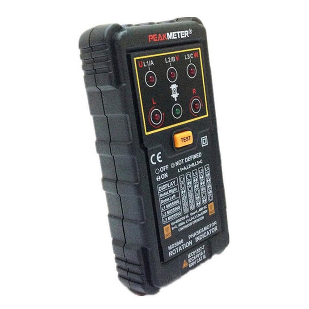 PEAKMETER MS5900 Portable 3 Three Phase Motor Rotation Indicator Tester Handheld